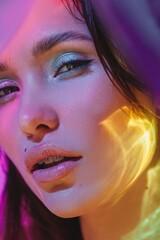 Colorful light beauty portrait