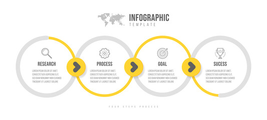 Business infographics template. Timeline with 4 arrow steps, four number options. Vector