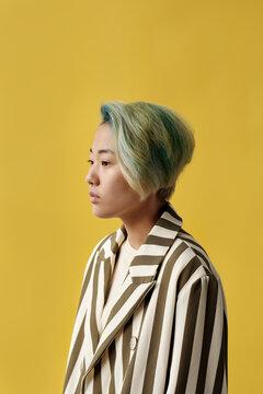 Asian Model In Striped Suit