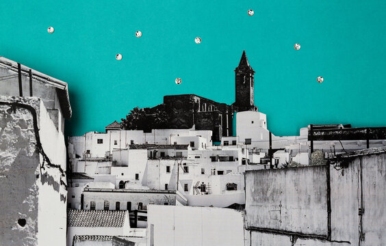 3d collage of a traditional Spanish village
