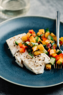 Roasted Halibut with Peach Salad