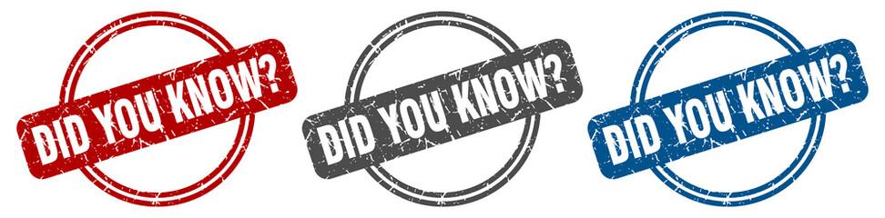 did you know stamp. did you know sign. did you know label set