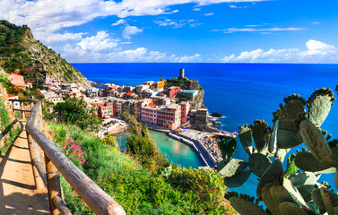 Italy travel and landmarks - wonderful Vernazza traditional fishing village in Liguria coast.Famous