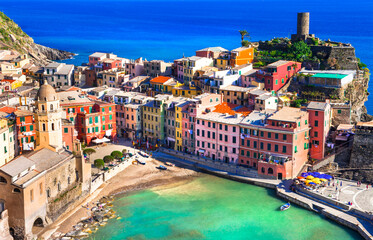 Italy travel and landmarks - beautiful Vernazza traditional fishing village in Liguria coast. Famous