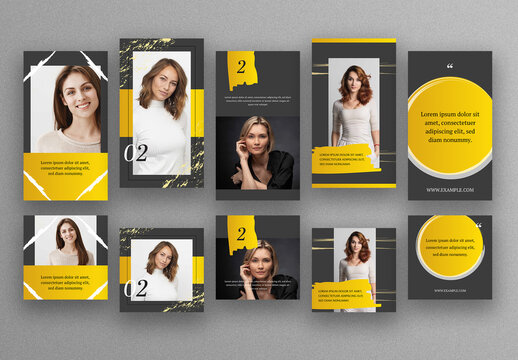 Social Media Post Layouts with Gold Accent