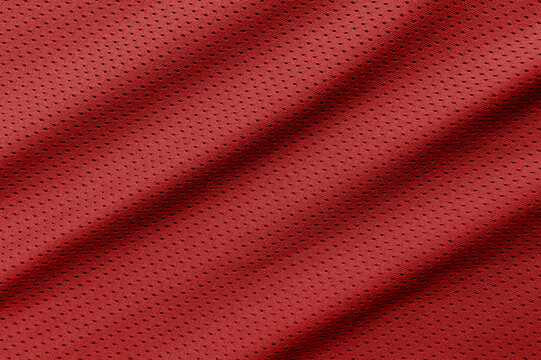 Red football, basketball, volleyball, hockey, rugby, lacrosse and handball jersey clothing fabric texture sports wear background