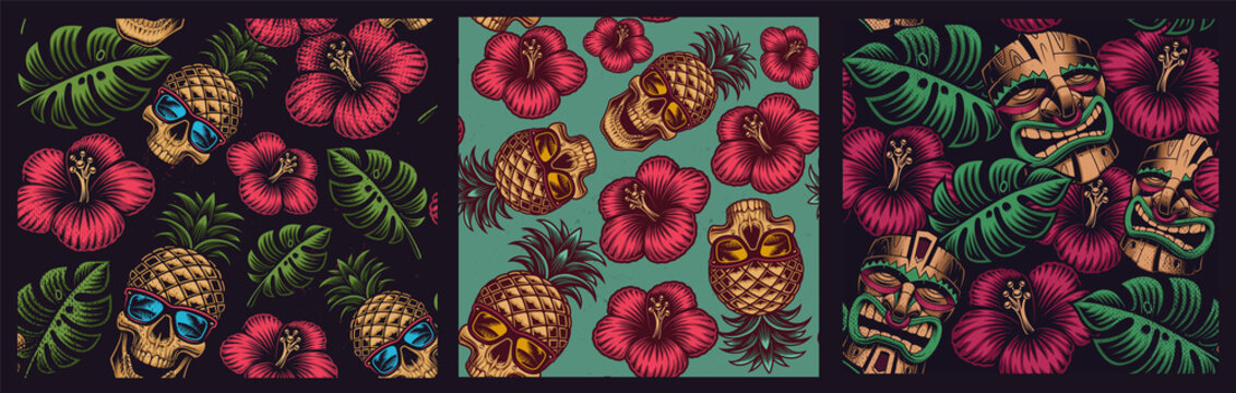 Set of seamless colored patterns in Hawaiian style with skull pineapple, tiki mask.