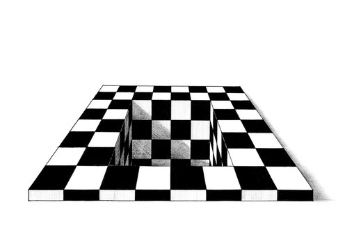 Hand Drawn Chess Board With Rectangular Hole
