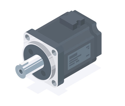 servo motor industry isometric vector