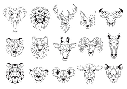 Set of Geometric abstract animals. Black animals on white background. Trendy mono line vector design