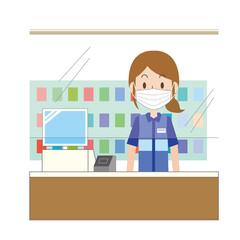 感染防止シートを張ったレジで働く女性店員