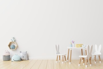 Furniture And Toys On Hardwood Floor Against Wall