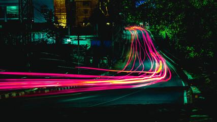 Light Trails On Road At Night Fototapete