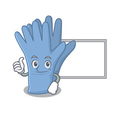 Wall Mural - Medical gloves cartoon design with Thumbs up finger bring a white board