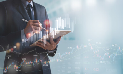 Finance analyst businessman analyzing stock market trend with forex graph on virtual screen