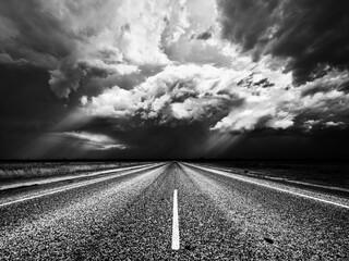 Fotomurales - Road Passing Through Landscape During Rainy Season