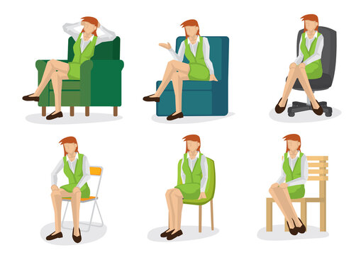 Set of business woman in various sitting positions.