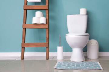 Modern toilet bowl in interior of restroom