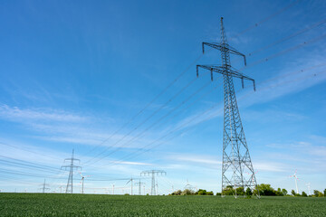 Overhead power lines in an agricultural area seen in Germany
