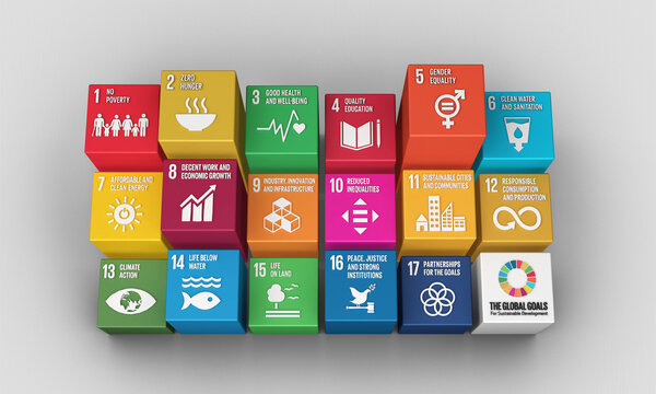 Sustainable Development Goals Blocks-3D Rendered Illustration SDG Icons Symbols for Presentation Article, Website Report, Brochure, Poster for NGO, or Social Movements. 2030.