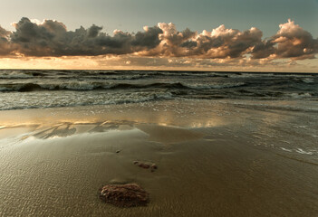 Morze zachód słońca - Bałtyk wyspa Wolin