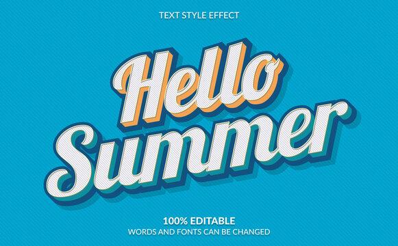 Editable Text Effect, Hello Summer Text Style