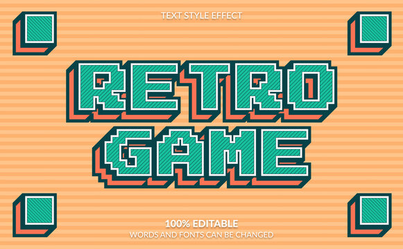 Editable Text Effect, Retro Game Text Style