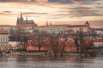 Vltava river and St.Vitus Cathedral in Prague