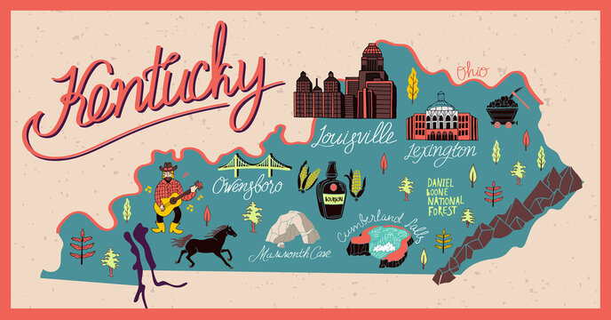 Illustrated map of  Kentucky state, USA. Travel and attractions. Souvenir print