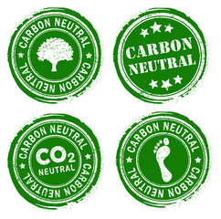 Carbon neutral green round retro style grunge seal set. Vector Illustration image. Isolated on white background. climate change ink rubber stamp. Eco, co2, nature. Ecology logo symbol collection.