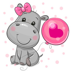 Cartoon Hippo girl with a balloon on a white background
