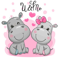 Cute Cartoon Hippos on a pink background