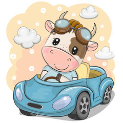Cartoon Bull in glasses goes on a Blue car