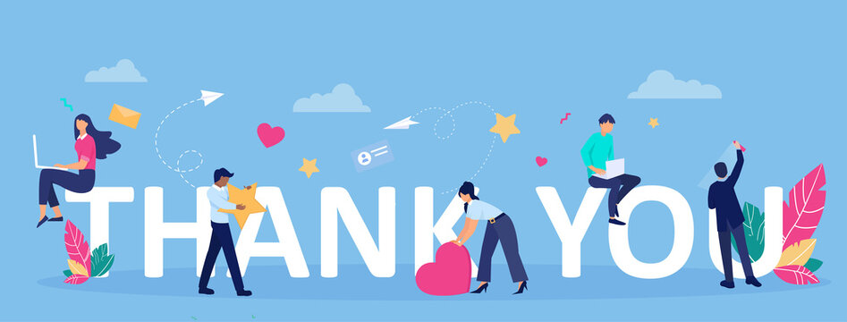 Vector greeting card with thank you message and happy people