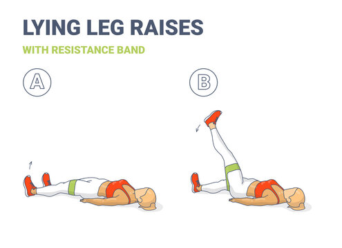 Lying Leg Lifting with Resistance Band Exercise illustration. Colorful Concept of Girl Doing Legs Raise Workout Exercise