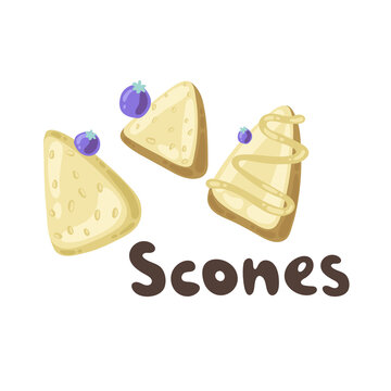 Homemade blueberry scones. Traditional English tea treats. Doodle scone or biscuit with raisins and cream isolated on white background. Triangle shaped homemade scones. Plain, glazed, blueberry chip.