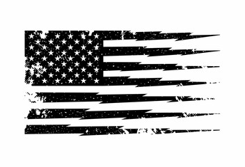 Black and white American flag artwork isolated on white