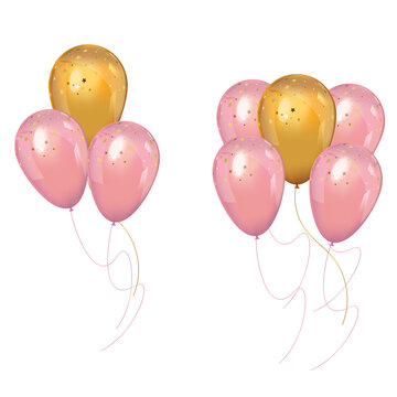 A bunch of realistic pink and gold balloons