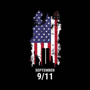 Patriot day illustration. We will newer forget 9\11. September, 11 rememberance day. Vector patriotic illustration with american flag and New York