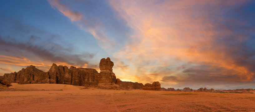 Outcrop geological formations at sunset near Al Ula in Saudi Arabia