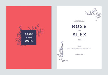 Minimalist floral wedding invitation card template design, floral line art ink drawing on red and white