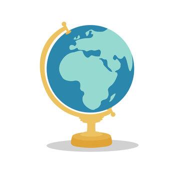 Flat vector illustration of isolated school globe on white background.