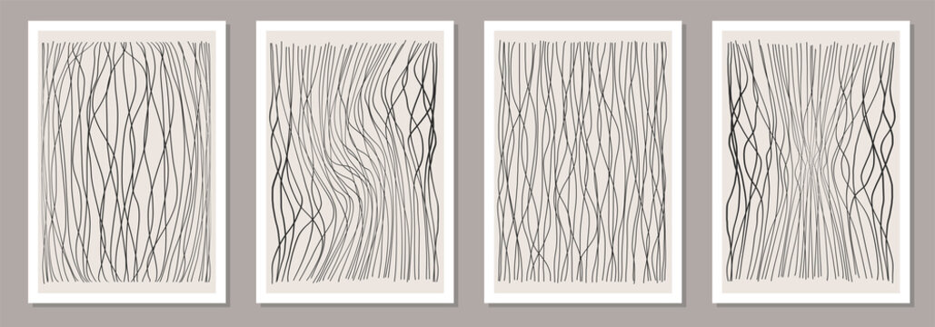 Trendy set of abstract creative minimalist artistic hand drawn line art composition