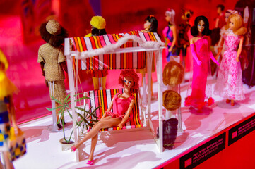 ROME, ITALY - MAY 7, 2016: Original Barbie doll at the exhibition in Rome. Barbie  brand belongs to the American toy-company Mattel, Inc