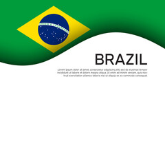 Creative wavy background with brazil flag for holiday card design. Brazil national poster, banner. State brazilian patriotic binding, business booklet. Paper cut style. Vector design