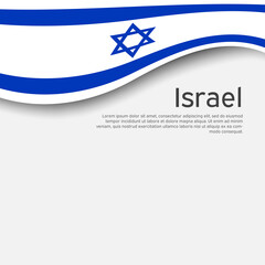 Israel flag background. Israel wavy flag on a white background. National poster. State israeli patriotic flyer, banner. Business booklet. Paper cut style. Vector design