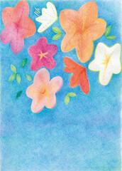 夏の青空と、ツツジの花を色鉛筆で描いた、暑い夏をイメージしたイラストレーション素材