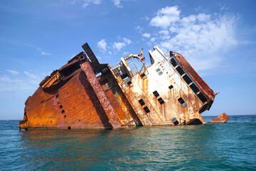 Black Sea region. Cape Tarkhankut. Sunken dry cargo ship