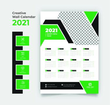 2021 wall calendar template design