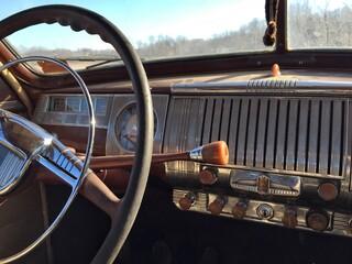 Photo sur Plexiglas Vintage voitures Steering Wheel Of Vintage Car